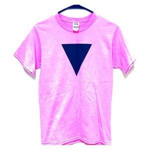 (Vintage} Pink Black Triangle Tee